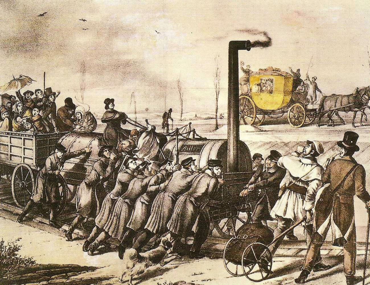 Spottbild auf die Eisenbahn (1835).
